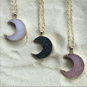 Druzy gold plated moon pendant